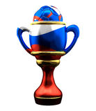 Soccer football russia trophy. 3d rendering Football Cup. Stock Image