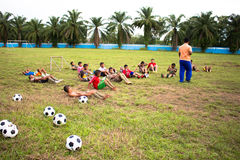 Soccer football. Satun, Thailand, June -06-2014 football training youth to compete in sports in the country Royalty Free Stock Photos
