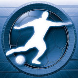Soccer or Football Science Blue. Striking high tech portrayal of a soccer player kicking ball. Blue version Stock Illustration