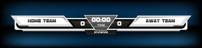 Soccer football with scoreboard graphic and spotlight vector illustration. Digital Screen Graphic Template.  royalty free illustration