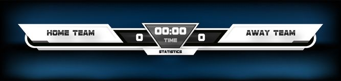 Soccer football with scoreboard graphic and spotlight vector illustration.  Royalty Free Stock Images