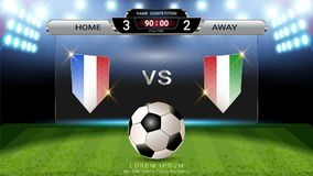 Soccer football scoreboard , Sport match Home Versus Away, Global stats broadcast graphic template Royalty Free Stock Photos
