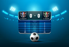 Soccer football with scoreboard and spotlight Stock Photography