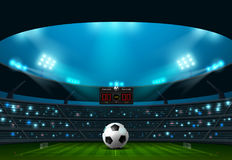Soccer football with scoreboard and spotlight Royalty Free Stock Photography