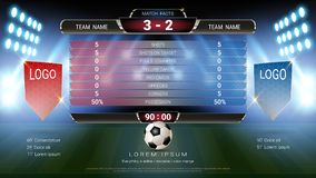 Soccer football scoreboard team A vs team B, Global stats broadcast graphic template with flag, For your presentation of the match. Results vector illustration