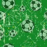 Soccer or football, seamless pattern background, tactics diagram, soccer balls, grunge style. Soccer or football design template, with tactics diagram grunge