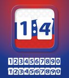 Soccer / Football Set of Russian Flag Colors Numbers Cards. Countdown Before Start of Championship. Scoreboard. Vector Illustration royalty free illustration