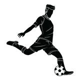Soccer football silhouettes player Stock Images