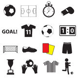 Soccer football simple black icons set eps10 Royalty Free Stock Photo