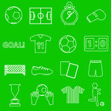 Soccer football simple white outline icons set Royalty Free Stock Photo