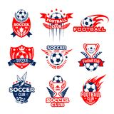 Football sport club heraldic icon with soccer ball. Soccer or football sport club heraldic badge set. Soccer ball and football winner trophy cup with flame, wing stock illustration
