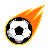 Soccer football sport comet fire tail flying logo. Isolated symbol badge label Royalty Free Stock Images