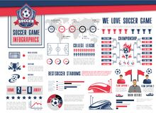 Soccer or football sport game infographic design. Soccer or football sport game infographic. Football championship schedule with soccer ball and winner trophy Stock Photo