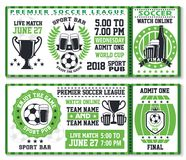 Soccer or football sport game ticket template Stock Image