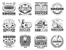 Soccer and football sport icons. Football or soccer sport icons and symbols set. Football game player, soccer ball and winner cup, stadium play field and gate stock illustration