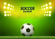Soccer football stadium backgorund. Vector ball on green field, sport illustration.  Stock Images