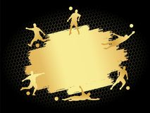 Soccer football stadium field with player silhouettes set on gold flat background. Poster template illustration. Championship cup modern isolated vector 1st Stock Image