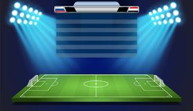 Soccer field with scoreboard Stock Photos