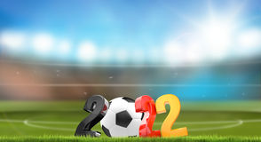 Soccer football stadium symbol 3d render. Illustration Royalty Free Stock Image