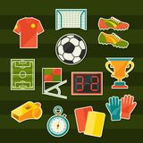 Soccer (football) sticker icon set in flat design Stock Photos