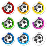 Soccer football stickers, labels set Royalty Free Stock Images