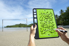 Soccer Football Tactics Board Brazil Beach Stock Photo
