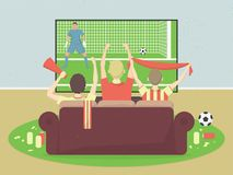 Soccer / football team fans watch TV with game, sitting on the couch. Celebrating goal scored. Sport Vector Illustration Royalty Free Stock Images
