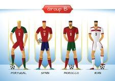2018 Soccer or football team uniform group B. Soccer or football team 2018 uniform a group B. players with team shirts flags. vector illustration Stock Photos