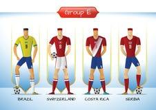 2018 Soccer or football team uniform group E. Soccer or football team 2018 uniform a group E. players with team shirts flags. vector illustration Royalty Free Stock Photos