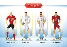 2018 Soccer or football team uniform group G. Soccer or football team 2018 uniform a group G. players with team shirts flags. vector illustration Royalty Free Stock Photo