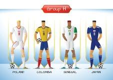 2018 Soccer or football team uniform group H. Soccer or football team 2018 uniform a group H. players with team shirts flags. vector illustration Stock Photo