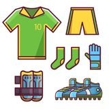 Soccer Football Team Uniform Set. Soccer football team uniform icon set with goalkeeper glove, knee pads, soccer cleats or football boots, socks, t-shirt with Stock Photography
