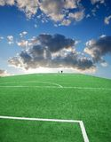 Soccer or football theme. Football grass background in light and shadow Royalty Free Stock Image