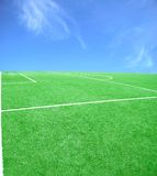 Soccer or football theme. Football grass background in light and shadow Royalty Free Stock Photography