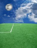 Soccer or football theme. Football grass background in light and shadow Royalty Free Stock Images