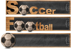 Soccer and Football - Three Banners  Stock Image