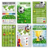 Soccer or football tournament 3d banner with ball. Soccer or football tournament match 3d banner set with sport game ball. Football stadium green play field Royalty Free Stock Photo
