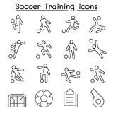 Soccer, Football Training icons set in thin line style Stock Image