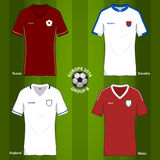 Soccer or Football uniform template for European football tournament 2016. Group B. England, Wales, Russia, Slovakia. Vector Illustration Royalty Free Stock Photo