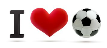 Soccer or football Vector Ball and red heart. Realistic soccer ball with love heart in 3d Style. Football love banner Stock Images