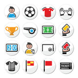 Soccer or football vector round icons set Stock Image