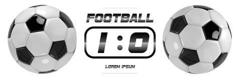 Soccer or Football White Banner With 3d Ball and Scoreboard on white background. Soccer or Football White Banner With 3d Ball and Scoreboard on white background Stock Photo