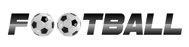 Soccer or Football White Banner With 3d Ball and Scoreboard on white background. Soccer game match sign. Stock Photo