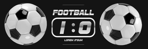 Soccer or Football White Banner With 3d Ball and Scoreboard on black background. Soccer or Football White Banner With 3d Ball and Scoreboard on black background Stock Photos