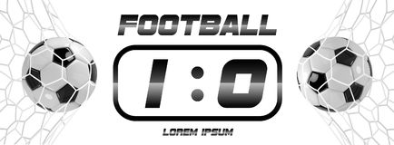 Soccer or Football White Banner With 3d Ball and Scoreboard on white background. Soccer game match goal moment with ball. In the net Stock Photos
