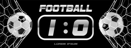 Soccer or Football White Banner With 3d Ball and Scoreboard on white background. Soccer game match goal moment with ball. In the net Stock Photography