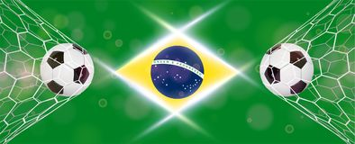 Soccer or Football wide Banner With 3d Ball on blue background and flag of Brasil. Football game match goal moment with. Realistic ball in the net and place for Royalty Free Stock Photos