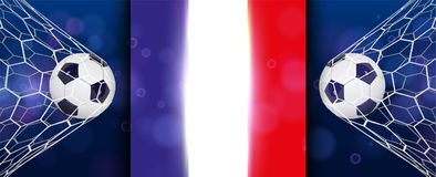 Soccer or Football wide Banner With 3d Ball on blue background and flag of france. Football game match goal moment with. Realistic ball in the net and place for Royalty Free Stock Photography