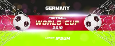 Soccer or Football wide Banner With 3d Ball on blue background and flag of Germany. Football game match goal moment with. Realistic ball in the net and place Royalty Free Stock Images