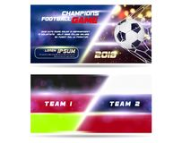 Soccer or Football wide Banner or flyer design with 3d ball on golden blue background. Football game layout template. Match with flag team, goal moment with Stock Image